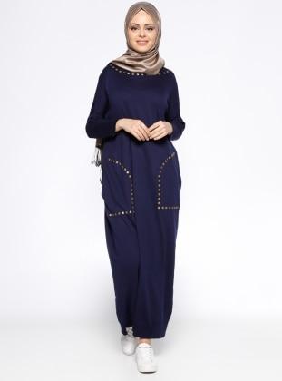 Zentoni Cepli Mevsimlik Elbise - Lacivert