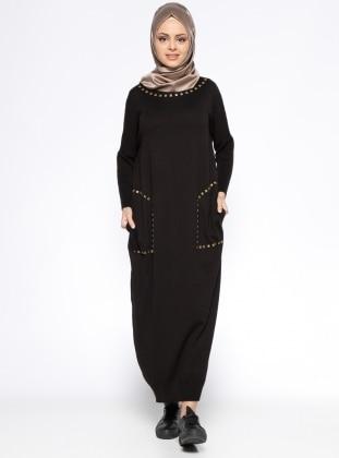 Cepli Mevsimlik Elbise - Siyah