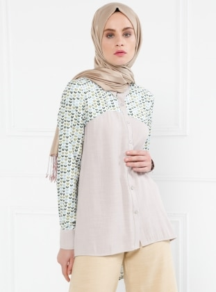 Beige - Multi - Point Collar - Blouses - Refka