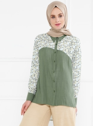 Khaki - Multi - Point Collar - Blouses - Refka