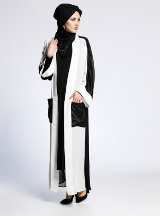 AJAL Kolsuz Elbise&Abaya İkili Takım - Siyah Beyaz
