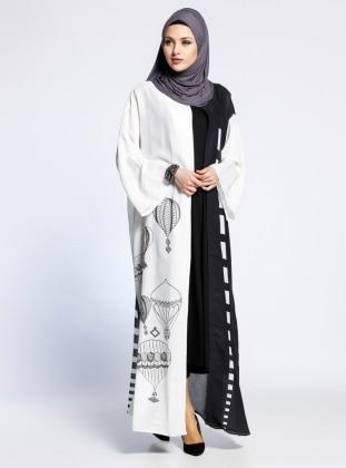 AJAL Desenli Kolsuz Elbise&Abaya İkili Takım - Siyah Beyaz