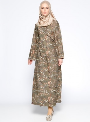 Me Like Desenli Namaz Elbisesi - Haki