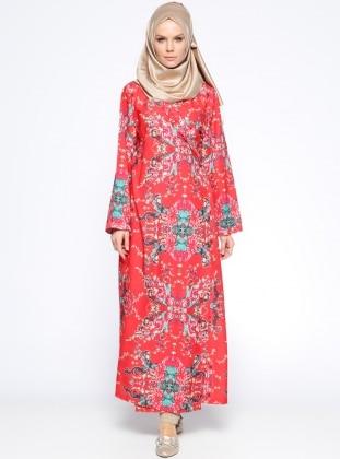Me Like Desenli Namaz Elbisesi - Mercan