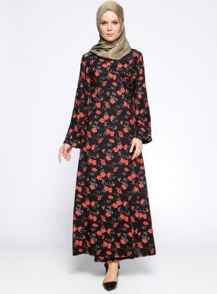 Desenli Namaz Elbisesi - Siyah Kırmızı