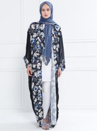 Floral Desenli Şifon Kimono - Siyah