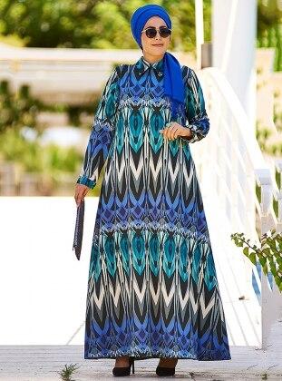 Geotmetrik Desenli Elbise - Mavi Gri