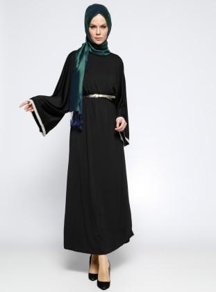 Kemerli Elbise - Siyah