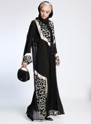AJAL Kolsuz Elbise&Abaya İkili Takım - Siyah