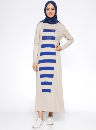 Uzun Mevsimlik Elbise - Bej