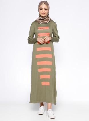 Uzun Mevsimlik Elbise - Haki