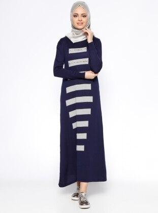 Uzun Mevsimlik Elbise - Lacivert