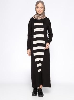Uzun Triko Elbise - Siyah