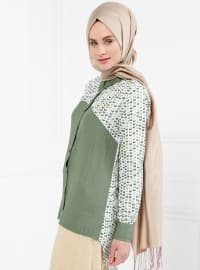 Khaki - Multi - Point Collar - Blouses - Refka