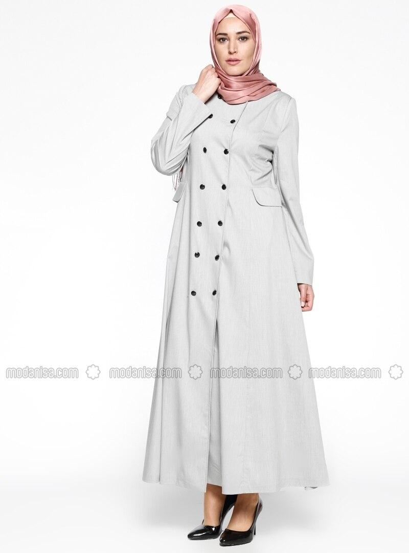 Crew neck - Unlined - Ecru - White - Black - Plus Size Coat