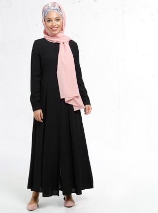 Boydan Gizli Düğmeli Elbise - Siyah