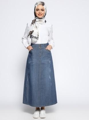 Cep Detaylı Kot Etek - Mavi