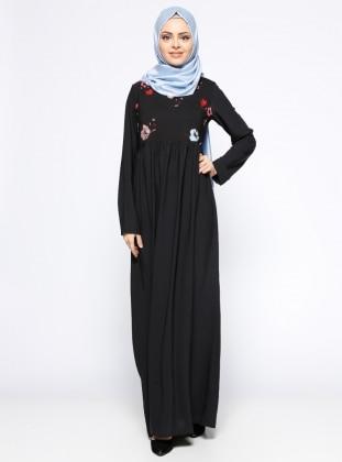 Çiçek Desenli Elbise - Siyah Kırmızı