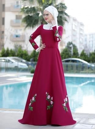 Gül Detaylı Elbise - Fuşya