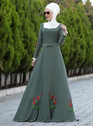 Gül Detaylı Elbise - Haki