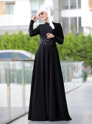 Kuş Gözü Detaylı Elbise - Siyah