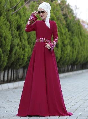 Selma Sarı Design Lale Elbise - Fuşya