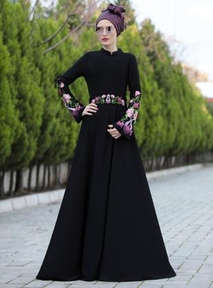 Lale Elbise - Siyah