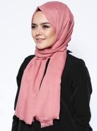 Pink - Plain - Viscose - Shawl