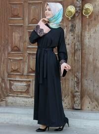 Hanedan Abaya - Siyah Pudra - İz Otantik