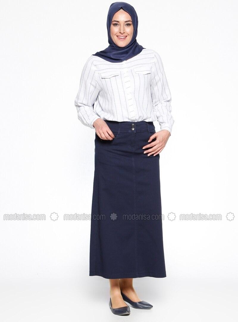navy blue unlined denim plus size skirt hanımsa