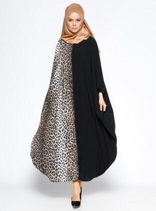 Fermuarlı Ferace - Siyah Camel
