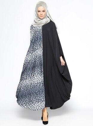 Fermuarlı Abaya - Siyah Gri