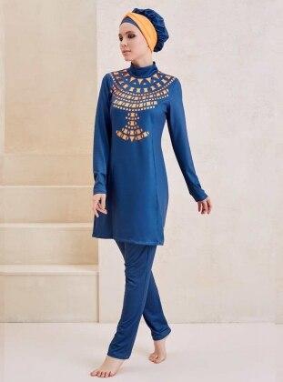 Kleopatra Tasarım Lazer Kesim Tam Kapalı Mayo - Turuncu Mavi