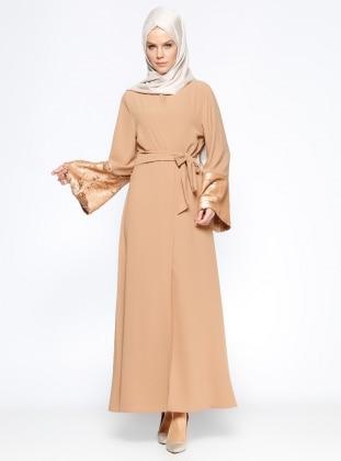 Kolları Payetli Abaya - Camel