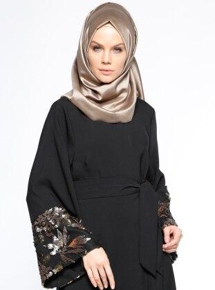 Kolları Payetli Abaya - Siyah Filizzade