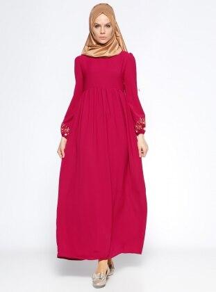 Nakış Detaylı Elbise - Vişne