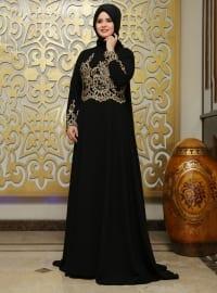 Saliha Asil Abiye Elbise - Siyah - Saliha