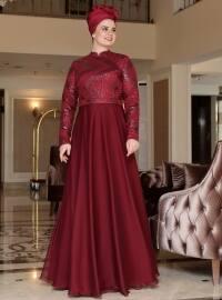 Saliha Berra Abiye Elbise - Bordo - Saliha