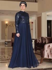 Saliha Berra Abiye Elbise - Lacivert - Saliha