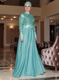Saliha Sırma Abiye Elbise - Mint - Saliha