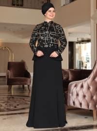Saliha Yakut Abiye Elbise - Siyah - Saliha