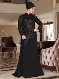 Zümrüt Abiye Elbise - Siyah - Saliha