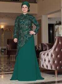 Zümrüt Abiye Elbise - Yeşil - Saliha