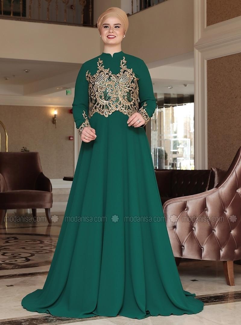Green - Unlined - Crew neck - Muslim Plus Size Evening Dress - Saliha
