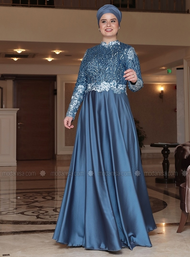 Blue - Fully Lined - Crew neck - Muslim Plus Size Evening Dress - Saliha
