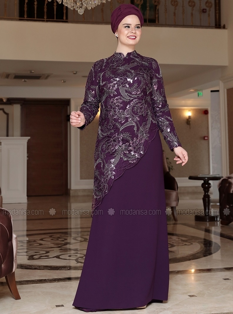 af0b4068c4d Purple Fully Lined Crew Neck Muslim Plus Size Evening Dress