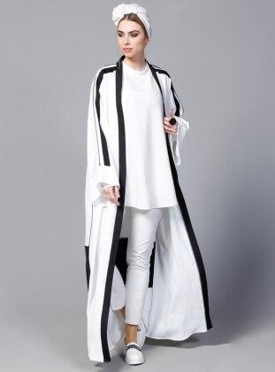 SHEIKHA Biye Detaylı Abaya - Beyaz Siyah