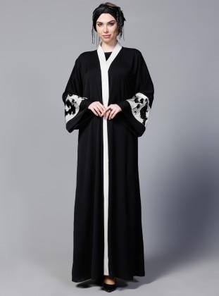 Black - Unlined - V neck Collar - Abaya - SHEIKHA