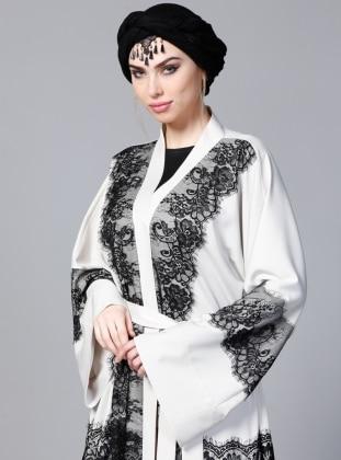 Dantelli Abaya - Ekru SHEIKHA