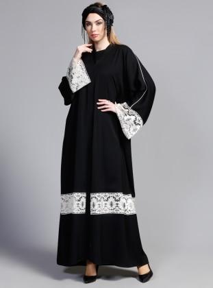 Dantelli Abaya - Siyah Ekru